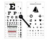 EMI OCC-WSK 3 Piece Set - Occluder Plus Snellen and Kindergarten/Children Plastic Eye Vision Exam Test Wall Charts 22 by 11