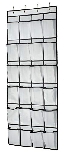 Shoe Organizer Hanging Over The Door, 24 Large Mesh Pockets Shoe Storage with 4 Hooks for Bedroom Closet, 59 X 21.6