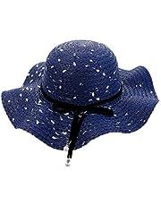 FENICAL Niñas niños Sombrero de Paja Protección Solar Sombrero Sombrero de Playa Sombreros de Verano Gorra con Perla y Bowknot (Azul)