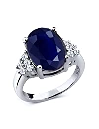 5.40 Ct Oval Blue Sapphire White Topaz 925 Sterling Silver Women's Ring (Available 5,6,7,8,9)