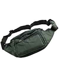Adjustable Travel Bum Bag With 4 Zipped Pockets - Waist Bag - It Fits to Front or Rear (Pack of 1)