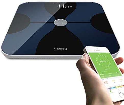 VisionTechShop S Body Bluetooth Body Fat Scale, Smart Digital Scale with Large Hidden LED Display, Body Composition Monitor, Free APP Works with iOS and Android for Measuring for Weight
