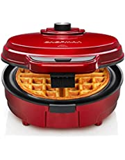 Chefman Anti-Overflow Belgian Waffle Maker w/ Shade Selector, Temperature Control, Mess Free Moat, Round Iron w/ Nonstick Plates & Cool Touch Handle, Measuring Cup Included, Red