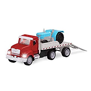 Driven by Battat – Micro Flatbed Truck – Toy Truck with Trailer & Miniature Toy Tractor For Kids Aged 3+ (2Pc)