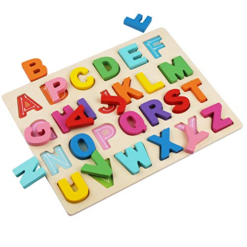 Kimuvin Wooden Alphabet Puzzles, ABC Puzzle Board for Toddlers 2-5 Years Old, Preschool Boys & Girls Educational Learning Letter Toys, Sturdy Wooden Construction