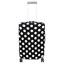 uxcell® Polyester Dots Pattern Travel Luggage Elastic Dustproof Protector Cover Bag 26-28 Inch Black