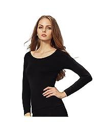 Liang Rou Women's Basic Round Neck Ultra-Thin Long Sleeve Shirt