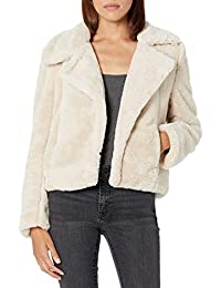 Womens with No Closure and Side Pocket Faux Fur Jacket