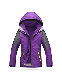 Women Heated Windbreaker Jacket & Detachable Liner Hoodie Windproof Coat for Hiking