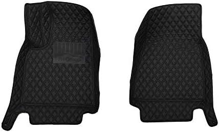 FH Group Custom-fit Heavy Duty Faux Leather Front Car Floor Mats fits 2012–2018 Tesla Model S, Black Color, Diamond Pattern