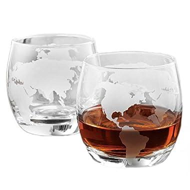 Etched Globe Whiskey Glasses - 12 Oz (350ml) 2 Pack