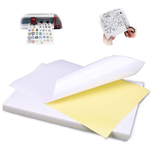 Universal Etikett bedruckbar 210 x 297 mm, Glossy Aufkleber Papier weiß selbstklebend bedruckbar für Laser- und Tintenstrahldrucker Drucker - 100 DIN A4 Selbstklebend Aufkleber