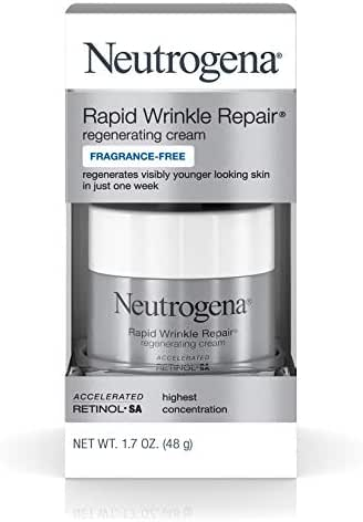 Neutrogena Rapid Wrinkle Repair Hyaluronic Acid Retinol Cream, Anti Wrinkle Cream, Face Moisturizer, Neck Cream & Dark Spot Remover for Face - Day & Night Cream with Hyaluronic Acid & Retinol, 1.7 oz