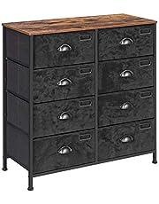 SONGMICS Rustic Vertical Dresser Drawer, Storage Tower, Industrial Style Dresser Unit, Black ULVT24H