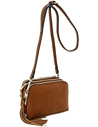 Triple Compartment Mini Crossbody Bag with Tassel