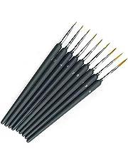 Miniature Paint Brushes, 9Pcs Fine Detail Paint Brush Set, Mini Painting Brushes Set for Watercolor Oil Acrylic Nail Art & Models Paint Brush Set (Black)