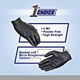 1st Choice Exam Black Nitrile Gloves, 4 Mil Latex