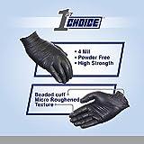 1st Choice Exam Black Nitrile Gloves, 4 Mil Latex