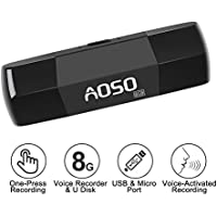 USB Voice Recorder - 8GB U Disk & Audio Recorder, USB & Micro Port for PC / Laptop / Android Smart Phone, Voice Activated Audio Recorder, 12 Hrs Long Recording for Class, Meeting, Lectures