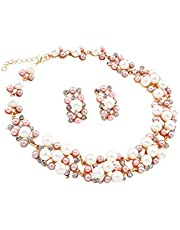 VN Trends Womens Exclusive Chunky Pearl and Clear Crystal Diamante Necklace and Earrings Set