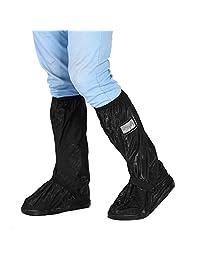 Qiilu de Moto Bike Ciclismo Zapatos Antideslizantes Cubierta Impermeable para lluviosos Snowy Day, Negro L