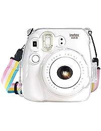 Fujifilm Instax Mini 8 / Mini 8 + / Mini 9 Crystal Case - Funda para cámara de fotos con correa ajustable para el hombro del arco iris para Fujifilm Instax Mini 8 / Mini 8 + / Mini 9 cámara instantánea, transparente
