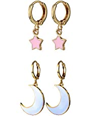 Small Dangle Hoop Earrings, Star Moon Gold Silver Earrings made of Zinc Alloy with Trendy Style for Women Ear Piercing Simple Jewelry, 1 Pair