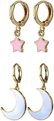 Small Dangle Hoop Earrings, Cute Star Moon Gold/Silver Mini Huggie Hoop Earrings with Charm for Women Ear Pier