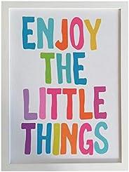Cuadro Decorativo Minimalista, Enjoy the Little things, Decoración, Letrero, Frases Motivadoras, Arte de pared