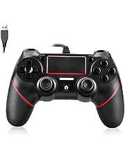 Powcan Controlador de PS4 Controlador con cable para Playstation 4 Gamepad de joystick de vibración dual para PS4 / PS4 Slim / PS4 Pro y PC con cable USB de 2.1 m de largo, negro + azul