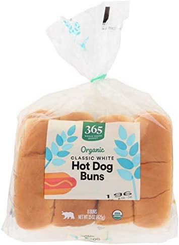 365 by Whole Foods Market, Organic Hot Dog Buns, Classic White (8 Buns), 15 Ounce