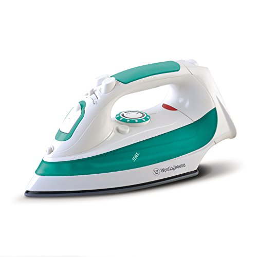 Westinghouse Steam Iron with 7.4-Ounce Soften Tank, 1200 watts, 3-Way Auto-Off Safety Function, White with Green Accents