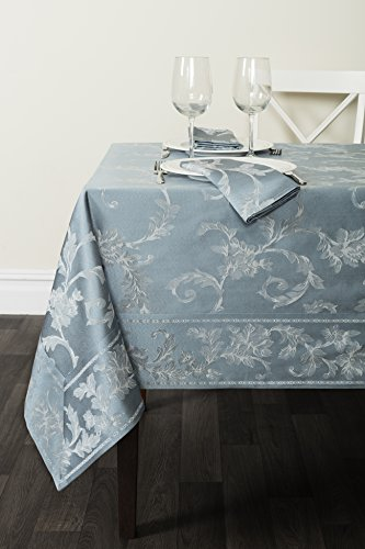 "Benson Mills Harmony Scroll Tablecloth (Silver - Blue, 60"" X 120"" Rectangular)"