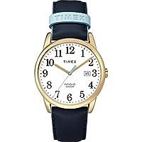 Timex Women 's fácil lector FECHA correa de piel 38mm. reloj, Azul/Dorado