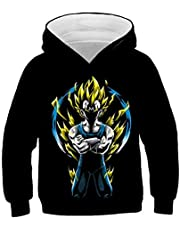 Tsyllyp Boys Girls Dragon Ball Z 3D Print Hoodies Kids Cartoon Pullover Tops