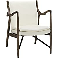 Modway Makeshift Leather Lounge Chair, Walnut Cream