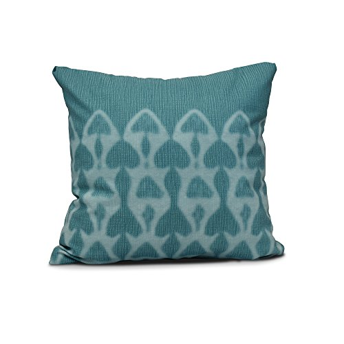 "E by design Watermark Geometric Print Pillow, 16"" x 16"", Teal"
