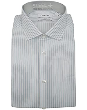 Calvin Klein Steel+ Men's Slim Fit Non Iron Striped Dress Shirt Stream White 16 32/33