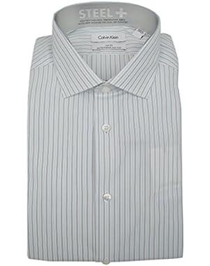Calvin Klein Steel+ Men's Slim Fit Non Iron Striped Dress Shirt Stream White 16 32/33