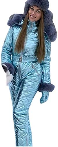 Women Winter Onesies Ski Jumpsuit Outdoor Sports Snowsuit Fur Collar Coat Jumpsuit with Hoodies Removable