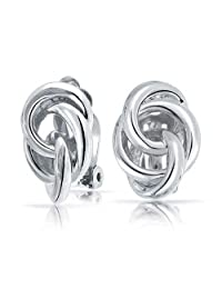 Love Knot TrIple Circle Clip On Earrings for Non Pierced Ears Rhodium Plated Brass