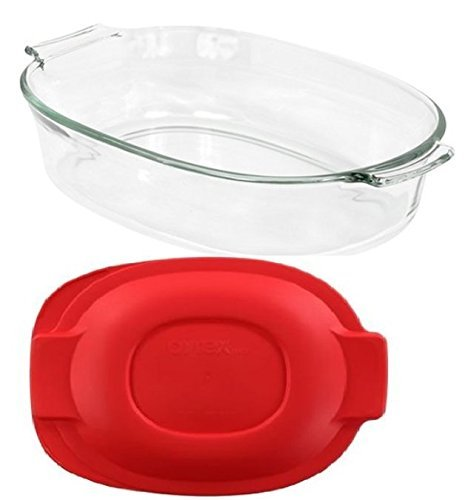 Pyrex 2 QT Oval Roaster Bundle: 2 Quart Oval Roaster with Red Plastic Cover