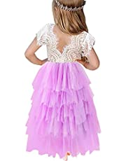 HOMAGIC2WE Toddler Baby Flower Girls Princess Tulle Dress Lace Backless Tutu A-line Beaded Party Dresses