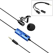Movo LV1 Lavalier Lapel Clip-on Omnidirectional Condenser Microphone with Headphone Monitoring for DSLR Cameras, Camcorders and iPhone/Android Smartphones (Blue)