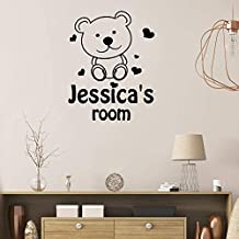 Vinyl Decal Quote Art Wall Sticker Inspirational Quotes Personalised Name Cute Teddy Bear Kids Room Nursery Kid Bedroom Child