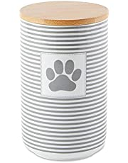 Bone Dry Paw & Patch Ceramic Pet Collection, Treat Canister, 4x6.5, Gray