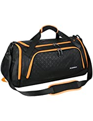 Mouteenoo Sports Duffel Bag Gym Bag Travel Duffle for Men and Women with Shoes Compartment (One Size, Black/Orange)