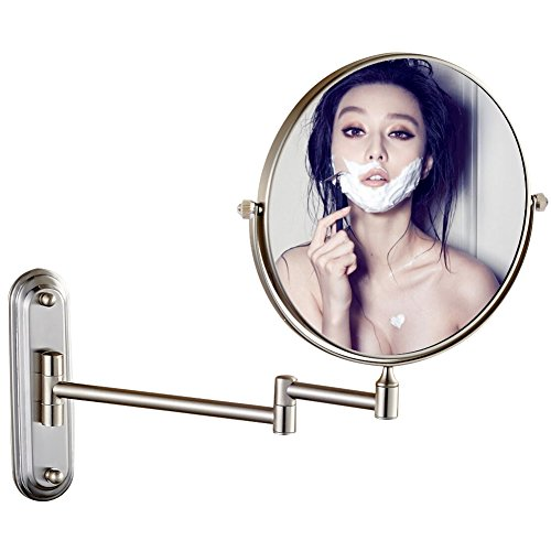 GURUN Wall Mount Magnifying Mirror Brushed Nickel Finish with 10x Magnification,8-Inch Two-Sided Swivel M1206N(8in,10x) (Send from China)