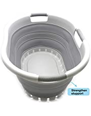 SAMMART Collapsible Plastic Laundry Basket - Foldable Pop Up Storage Container/Organizer - Space Saving Hamper/Basket (3 Handled Oval, Grey/Grey)