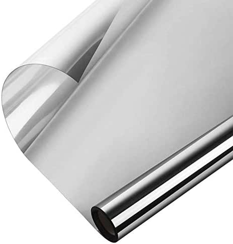 WochiTV One Way Window Film, Privacy Window Tint for Home, UV Blocking Mirror Reflective Heat Control Glass Film Non Adhesive Static Cling Daytime Privacy Protection Silver 35.4In x 32.8Ft